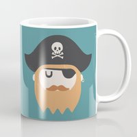 pirate Mugs featuring Pirate by Beardy Graphics