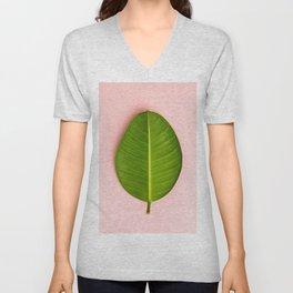 Ficus leaf on pink background, flat lay Unisex V-Neck