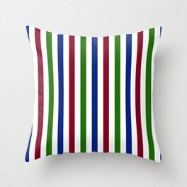 Dark red, bottle green, dark blue and white vertical stripes Throw Pillow