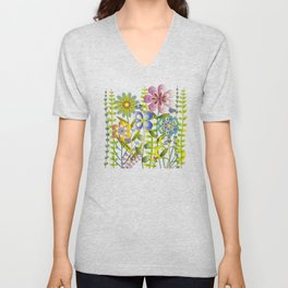 Petty Flowers Pattern 2 Unisex V-Neck