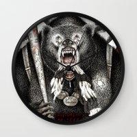 quentin tarantino Wall Clocks featuring Inglourious Basterds (Quentin Tarantino) The Bear Jew by ARTbyGB