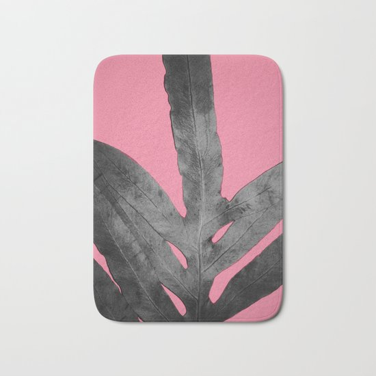 Green Fern on Pink - Black Shadow Bath Mat