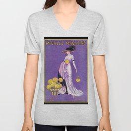 Vintage Lady from 1912 Unisex V-Neck