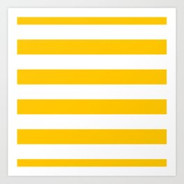 Aspen Gold Yellow and White Wide Horizontal Cabana Tent Stripe Art Print