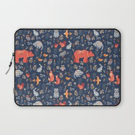 Fairy-tale forest. Fox, bear, raccoon, owls, rabbits, flowers and herbs on a blue background. Seamle Laptop Sleeve