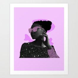 Rock Star Glitter Collage Art Print
