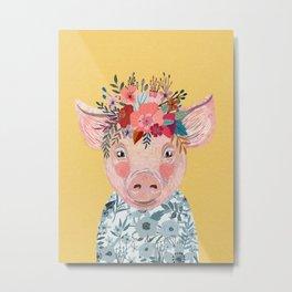 Piglet with flower crown Metal Print