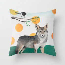 Coyote and Magpie Throw Pillow