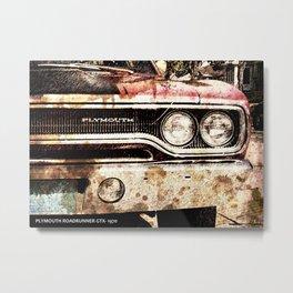 Plymouth Roadrunner GTX 1970, classic car artwork, men cave decoration Metal Print