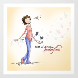Butterflies, Hand Drawn Illustration Art Print