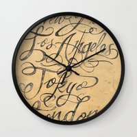 cities Wall Clocks featuring freehand cities by Vin Zzep