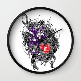 Scorpio Skull Zodiac Sign For October and November Birth Day Gift Wall Clock