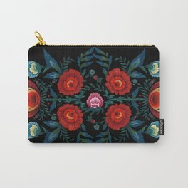 Flowers in Red and Blue Carry-All Pouch