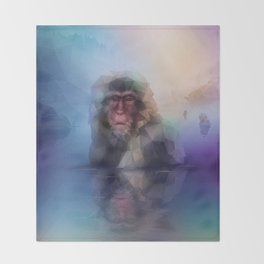 Macaque (Low Poly Multi I Snow Monkey) Throw Blanket