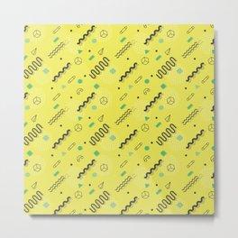 Modern lime green black geometric 80s pattern Metal Print
