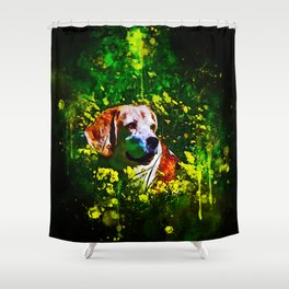 beagle dog flower field splatter watercolor Shower Curtain