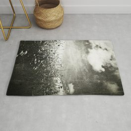 Counting Flowers Like Stars - Black and White Rug