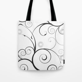 Black and Gray Swirls and Circles Tote Bag