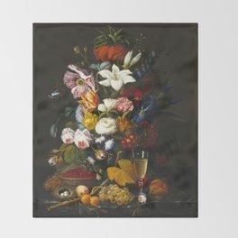 Severin Roesen - Victorian Bouquet Throw Blanket