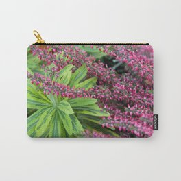 Pink meets Green #1 #floral #foliage #art #society6 Carry-All Pouch
