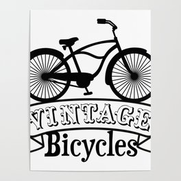 Black and White Vintage Bicycles Poster