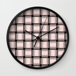 Large Pastel Pink Weave Wall Clock