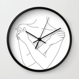 Crossed arms illustration - Joyce Wall Clock