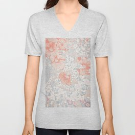 Coral And Grey Petunias Unisex V-Neck