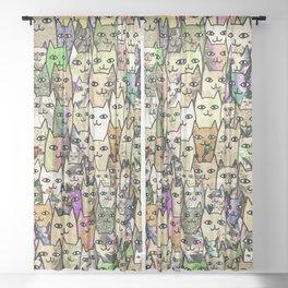 Sunshine Cats Sheer Curtain
