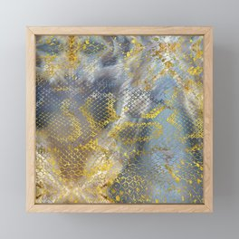 Faux gold snake skin texture on  marble Framed Mini Art Print