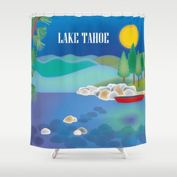 Lake Tahoe - Skyline Illustration by Loose Petals Shower Curtain
