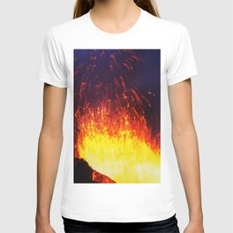 Eruption volcano - fountain, fireworks lava erupting from crater T-shirt