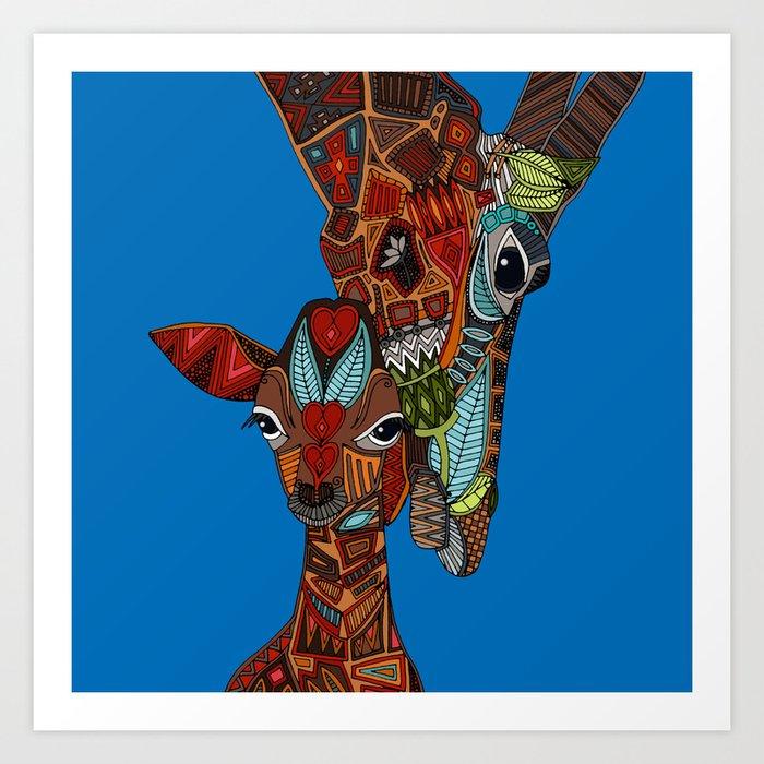 giraffe love blue Art Print