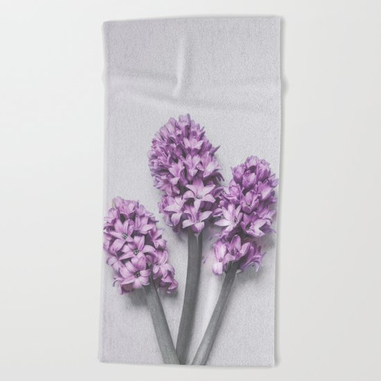 Three Light Purple Hyacinths Beach Towel