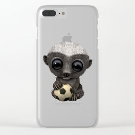 Cute Baby Honey Badger With Football Soccer Ball Clear iPhone Case
