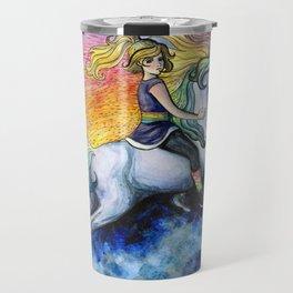 Rainbow Brite and Starlite - Unicorn - Fan Art Travel Mug