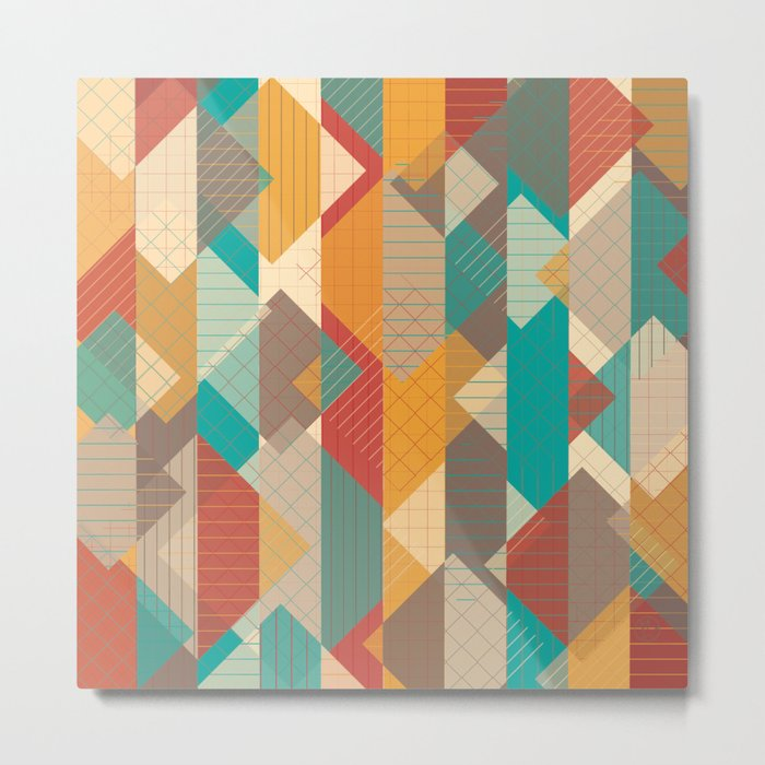Geometric Geek Pattern - Squares, Stripes, Grids Metal Print