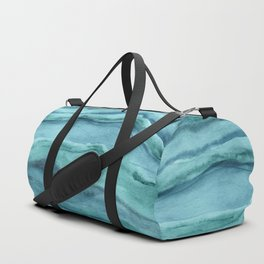 Watercolor Agate - Teal Blue Duffle Bag