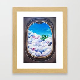 Cloud Surfing Cactus Framed Art Print
