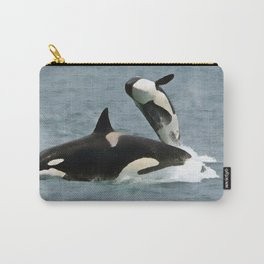 Playful Orcas Carry-All Pouch