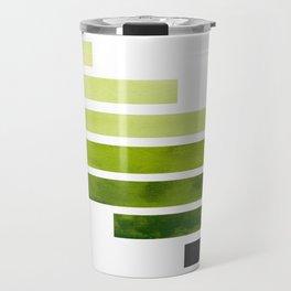 Sap Green Midcentury Modern Minimalist Staggered Stripes Rectangle Geometric Pattern Watercolor Art Travel Mug