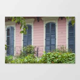 New Orleans Pink Front Porch Canvas Print