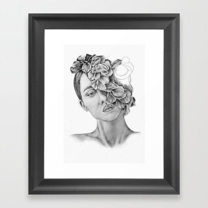 Art , Pencil drawing , Illustration , portrait , model ,Flowers , Gift ,  wall decor Framed Art Print by kathrynlisa