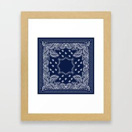 Bandana - Navy Blue - Boho Framed Art Print
