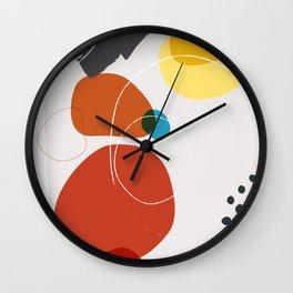 Shape & Hue Series No. 2 – Yellow, Orange & Blue Modern Abstract Wall Clock