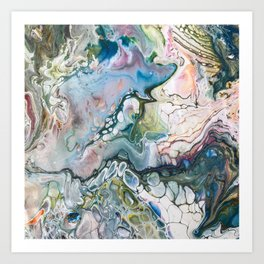 Sea and Land Acrylic Abstract Painting Art Print