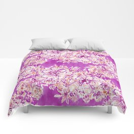 GOOD VIBES Wild Pink Watercolor Floral Comforters