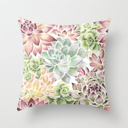 Bright Watercolor Succulents Throw Pillow