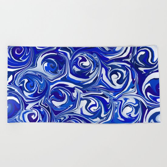 China Blue Paint Swirls by abstractcolor