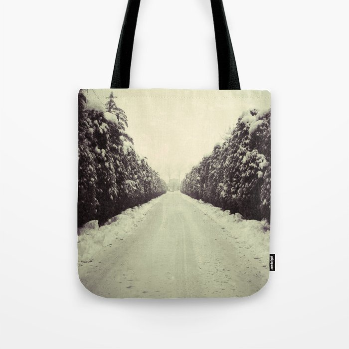 Avenue during a snowing. Tote Bag